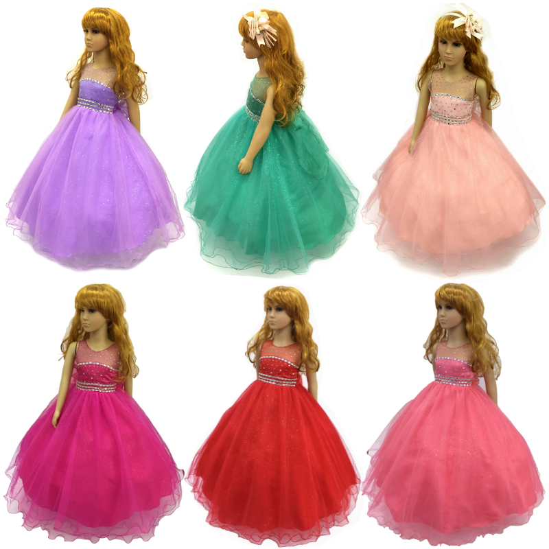 Cotton Lining 2-12 Years Children Party Dress 2018 New Tulle Flower Girl Dresses Stone Royal Blue Kids Evening Gowns With Bustle muqgew new fashion 2018 children party