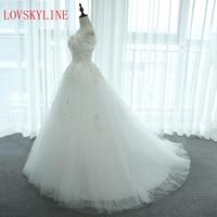 2018 Slit Boat Neck bride wedding dress short trailing bridal dress lace puffy skirt wedding dress bandage formal dress