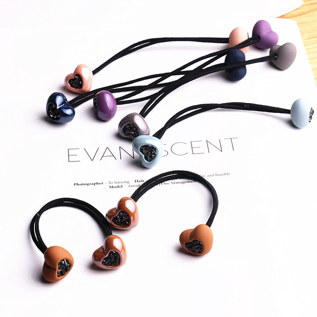 Colorful Elastic Women's Hair Rubber Bands with Crystal Heart
