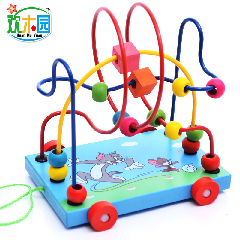 Manufacturers selling Huan Mu yuan wooden children puzzle hands pull toy wooden cartoon Trailer around Pearl wholesale