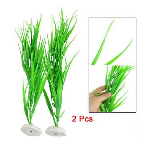 PHFU 2 Pcs 10 Length Green Plastic Grass Plants for Fish Tank