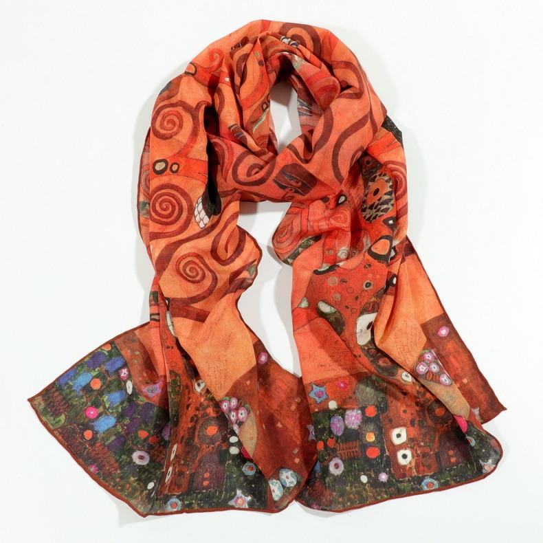 Apparel Accessories Ocean Waves Painting Print Pure Silk Scarf Fashion Neck Wear Accessory Scarfs Pashmina Womens Scarves Elegant Wraps Zscj18