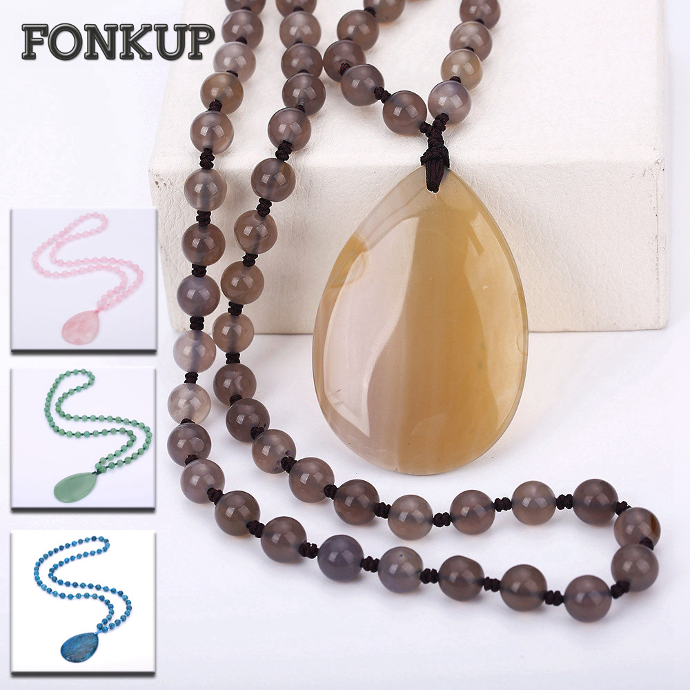 Forkup White Opal Necklace Pendant Bohemia Women Long Sweater Chain Bead Chain Jewelry Transparent Accessories Rose Quartz Reik