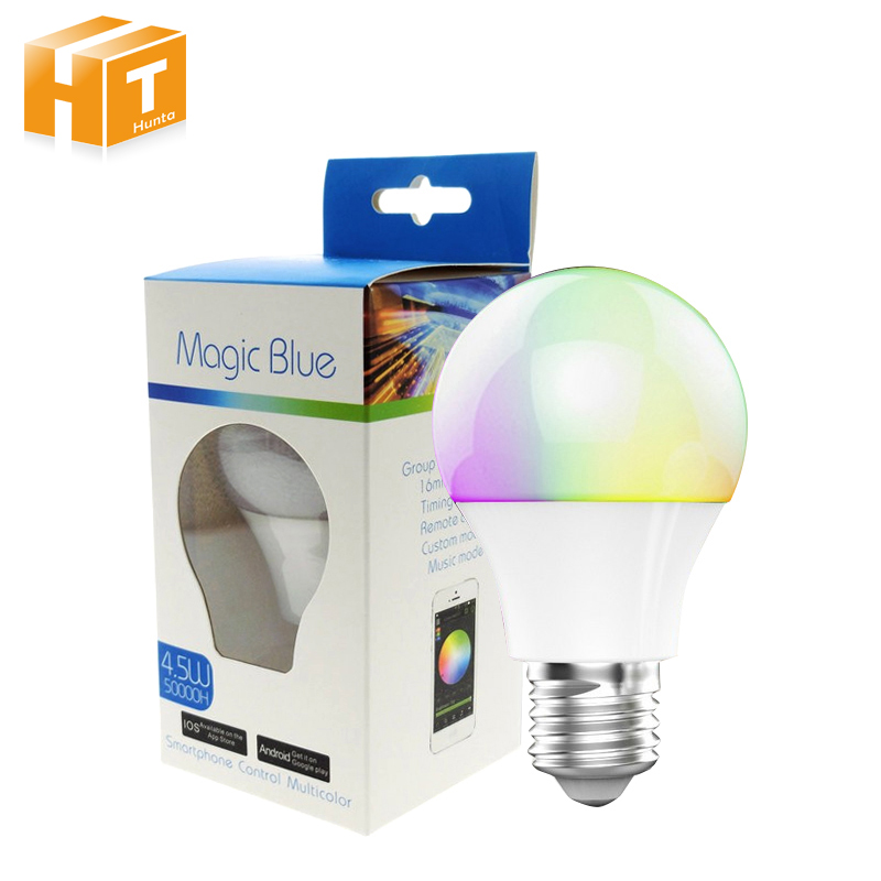 Bluetooth LED Bulb E27 RGBW 4.5W Bluetooth 4.0 Smart Lighting Lamp Color Change Dimmable Led bulb Light For Home Hotel/Party bluetooth 4 0 led bulb smartphone app remote control led light e27 rgbw dimmable led lamp sleeping mode smart home disco light