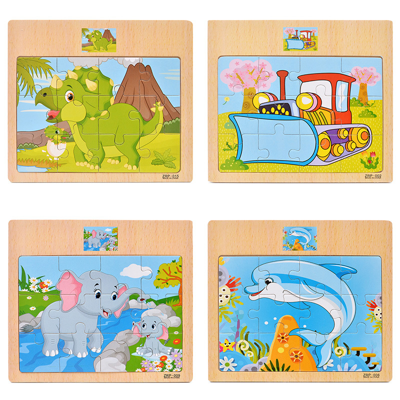 Montessori Toys Educational Wooden Toys For Children Early Learning 3d Cartoon Animal Traffic Puzzle Kids Math Jigsaw Math Toys