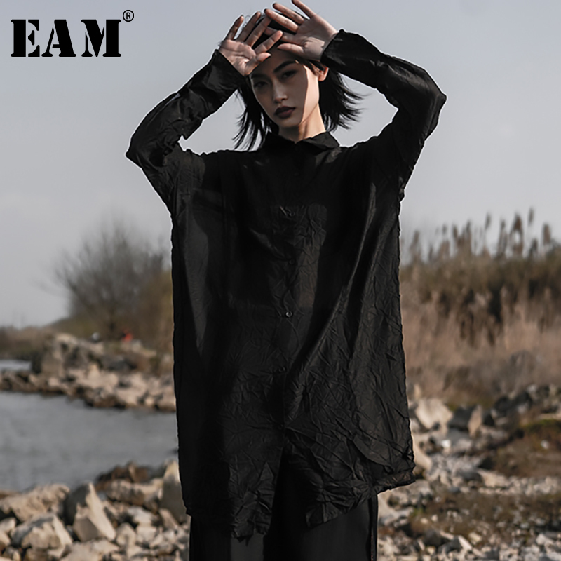 EAM 2019 New Spring Summer Lapel Long Sleeve Black Fold Split Joint Loose Big Size