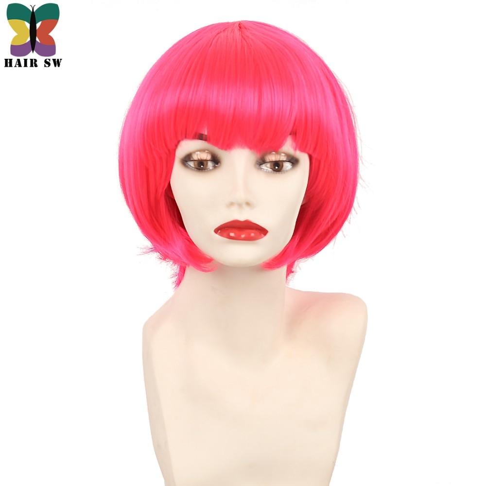 Σύντομη ρόδινη ζεστή ροζ περούκα - Συνθετικά μαλλιά - Φωτογραφία 1