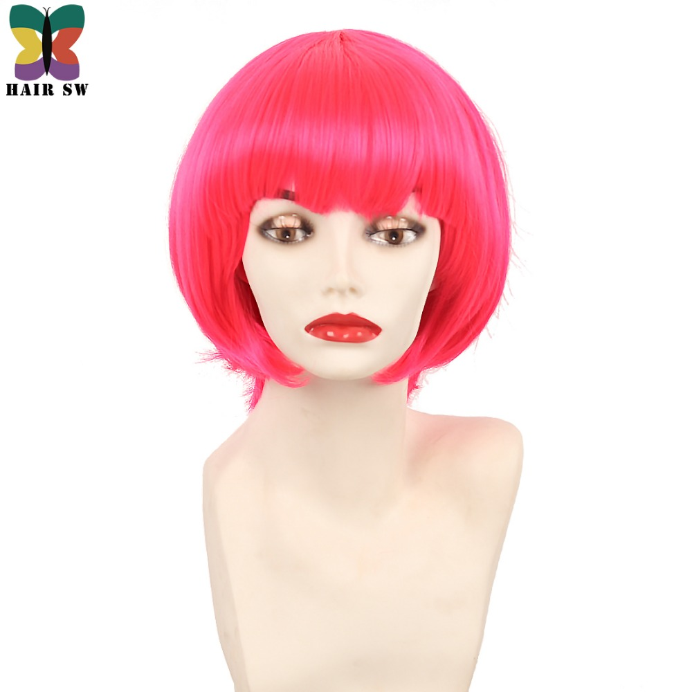 Short Rose Hot Pink Wig Synthetic Bob Cosplay With Bangs High Temperature Fiber Halloween Wig Candy Girl For Party HAIR SW