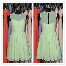 2015 New Fashion Cheap Pleated Chiffon vestido madrinha de casamento Mint Short Bridesmaid Dresses free Shipping(BC058)
