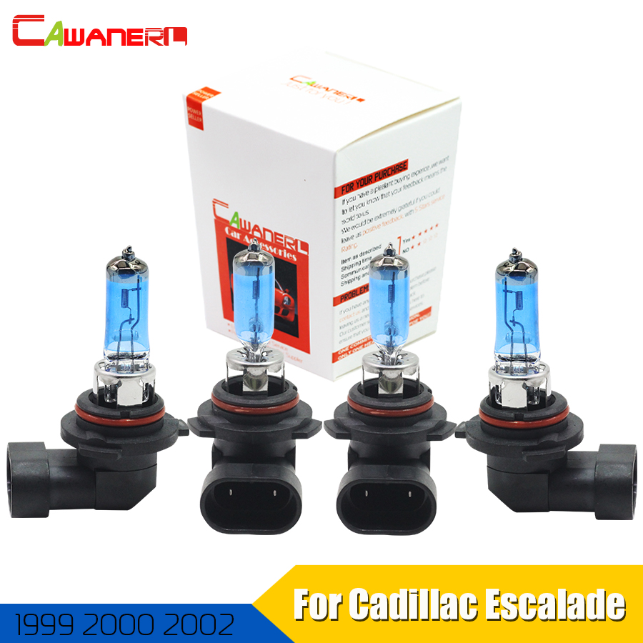 Cawanerl 4 Pieces 100W 9005 + 9006 Halogen Bulb 4300K 12V Car Light Headlight High Low Beam For Cadillac Escalade 1999 2000 2002