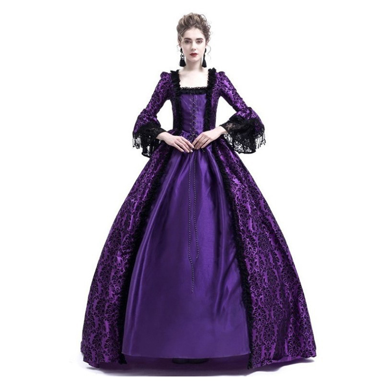 Medieval Palace Queen Princess Luxury Lace-up Dress Halloween Cosplay Costume
