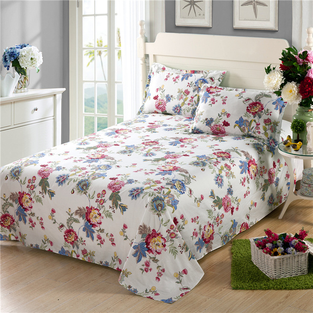 Marvelous High Quality 100% Cotton White Flowers Bed Sheets New Colorful Print Bedding  Sets Cartoon Flowers