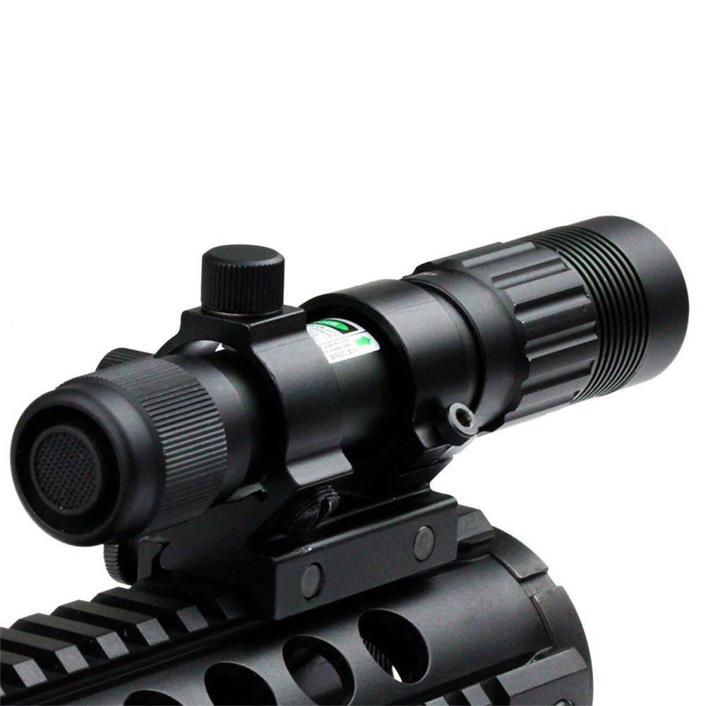 Flashlight-Adjustable-Laser-Sight-Tactical-Hunting-Green-Illuminator-Designator-with-Weaver-Mount-and-Switch