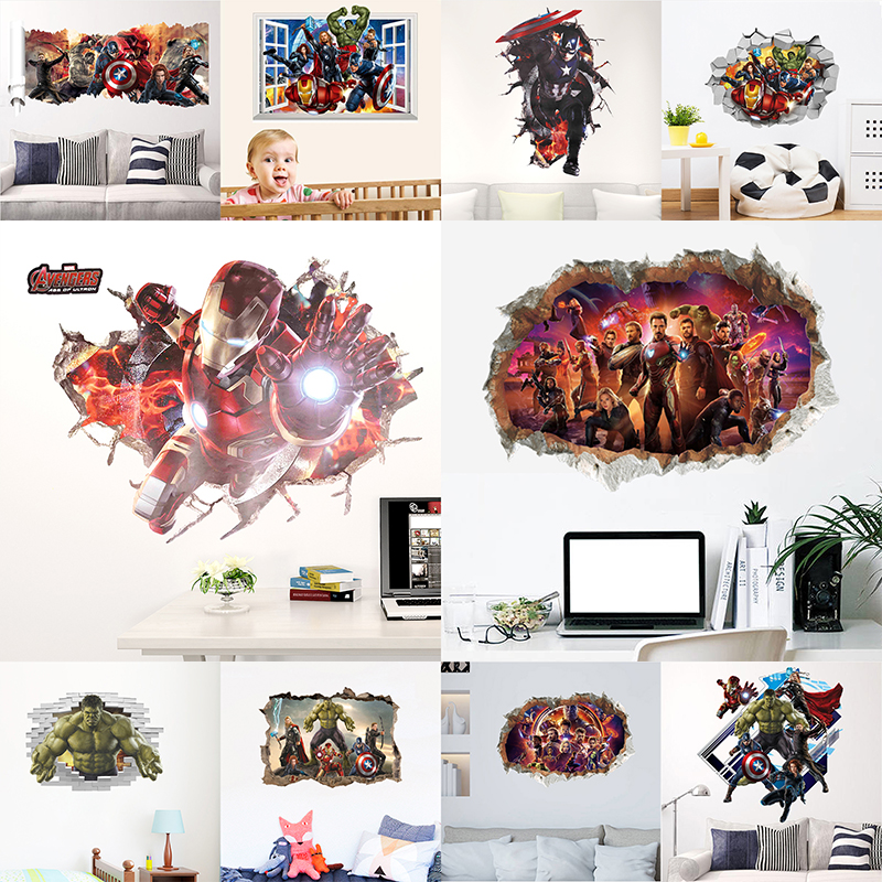 Marvel The Avengers Through Wall Stickers For Kids Room Super Heroes Decorations PVC Home Cartoon Decor Wall Mural Art Posters in Wall Stickers from Home Garden