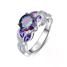 Huitan Special Design Ring For Women Gorgeous Colorful CZ Main Stone Prong Setting Fashion Pattern Jewelry Ring Wholesale