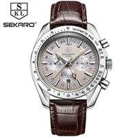 תת חיוג גברים שעונים מכאניים אוטומטיים יוקרה מותג sekaro פונקצית תצוגת 24 שעות תאריך relojes שעון עור אמיתי