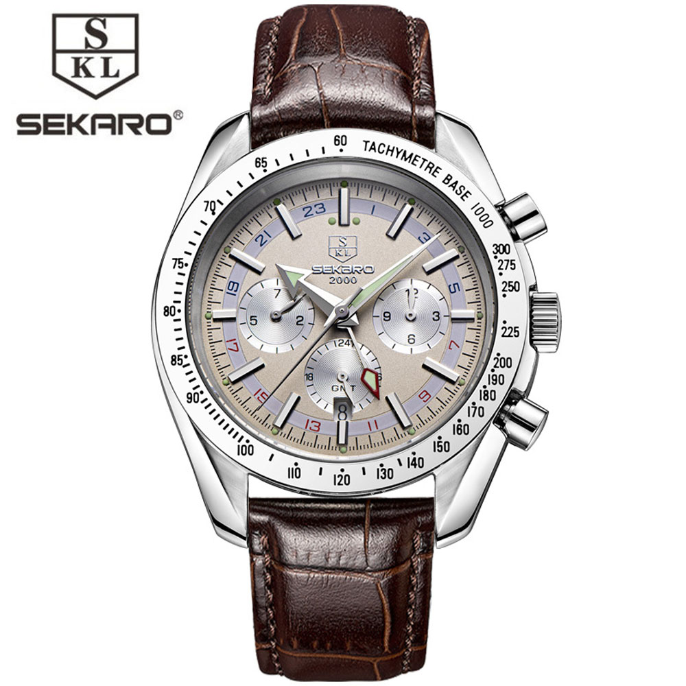 SEKARO Brand Luxury Automatic Mechanical Watches Men Sub Dial function Date 24 hours Display Genuine Leather  Watch relojes ik brand luxury automatic mechanical watches men sub dial function date 24 hours display genuine leather skeleton watch relojes
