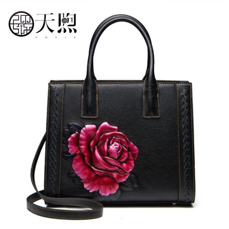 Famous brand top leather handbag bag 2018 New Big Bag Shoulder Messenger Bag The first layer of leather hand bag new korean version of the first layer of leather pillow bag large lychee pattern handbag shoulder messenger fashion leather leat