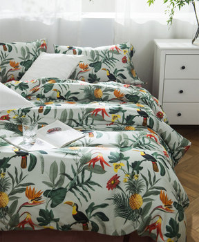 pastoral flower bird bedding set,full queen king cotton colorful green double home textile bed sheet pillow case duvet cover