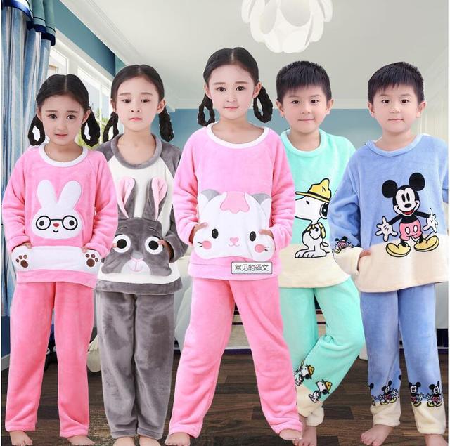 832a7db472 Kids pijamas Homewear Winter Pyjama Children Fleece Pajamas Warm Flannel  Sleepwear Girls Loungewear Coral Fleece Nightwear