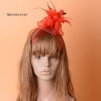 הנקי Mesh פרחוני סרטי ראש גומייה לשיער כובעי נוצת אופנה נשים גבירותיי ארוחת ערב משתה קוקטייל Fascinator שיער קליפ