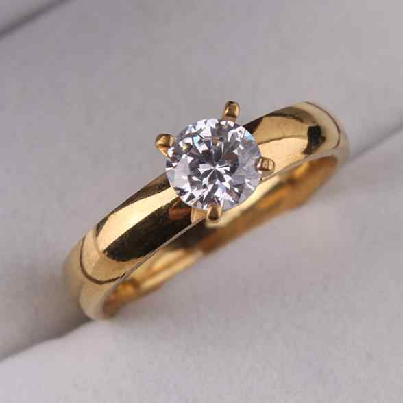 CZ Zircon rings 316L Stainless Steel  gold color finger ring for women jewelry  wholesale
