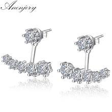 ANENJERY 925 de plata esterlina delicada estrella pendientes brillantes pendientes de circonita cúbica para las mujeres pendientes de boda S-E264