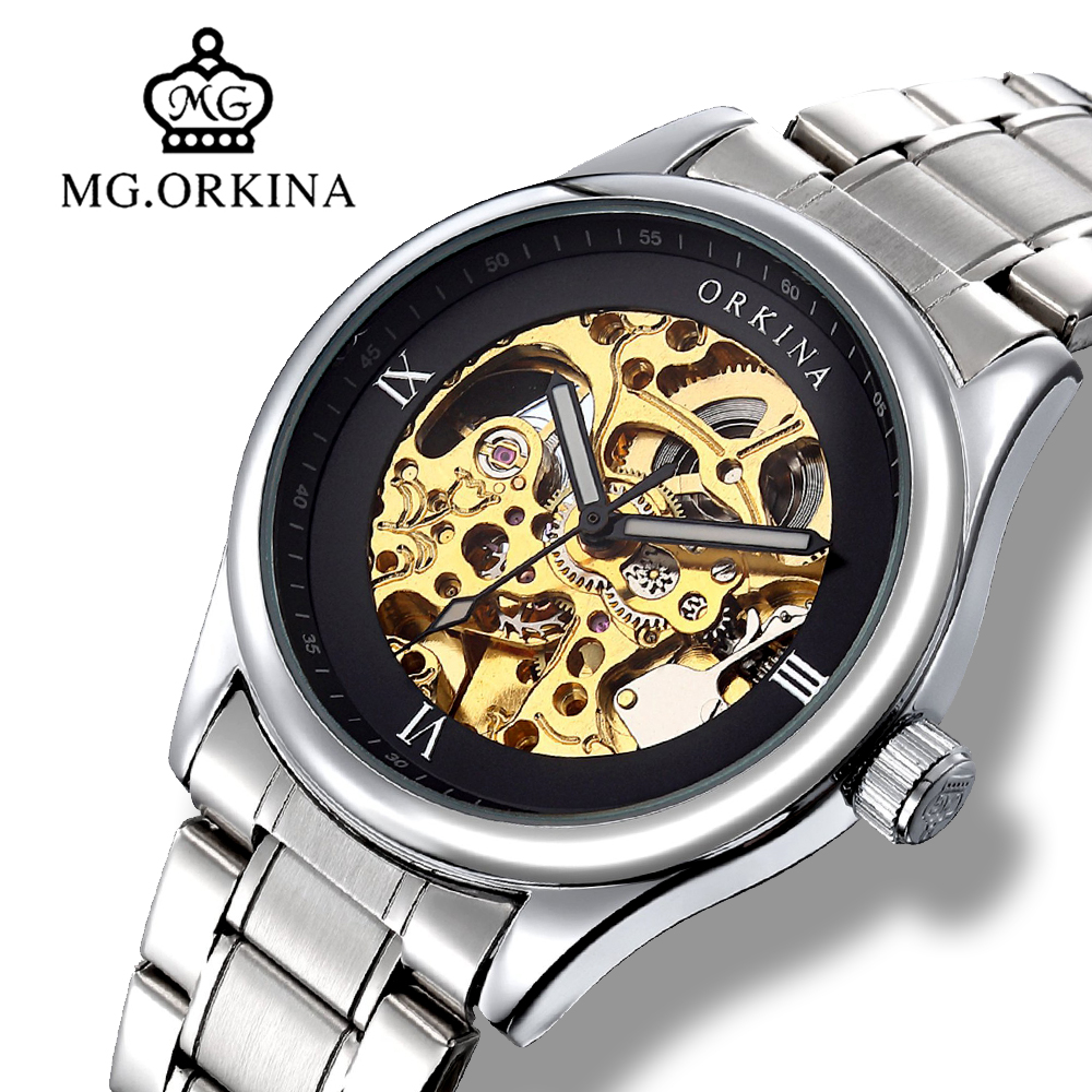 Silver Skeleton Automatic Self Wind Watches Men Mg.orkina Mechanical Transparent Wrist Watch Clock Man montre automatique homme цена 2017