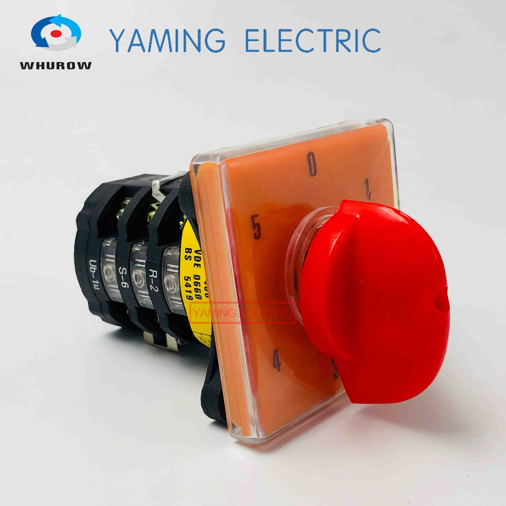 Selector Cam switch 3 phases 0-5 position Multi-step 20A 500V Changeover rotary switch big plate T-16EXF64D-3 ui 500v ith 16a 3 position changeover rotary cam switch w led indicator lamps