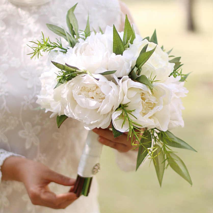 Janevini Putih Gading Pengantin Buket Bunga Peony Buatan Bunga 2018 Corsage Mawar Boutonnieres Hijau Daun Pernikahan