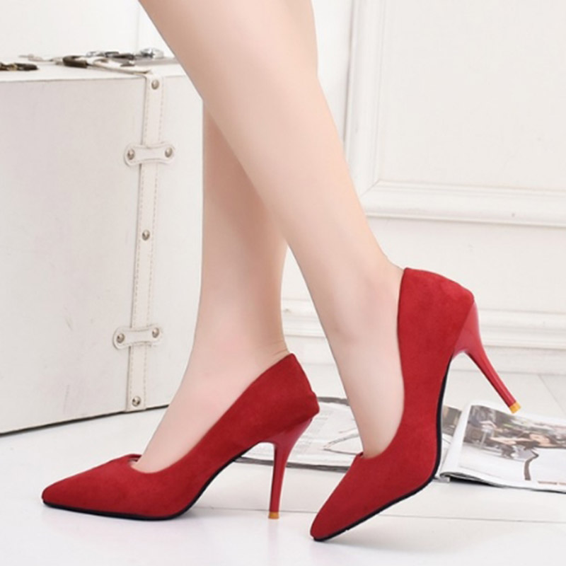 2017 Summer New Arrival Wedding Women Fashion Flock Leather High Heels Pointed Toe Shallow Mouth Thin Heels Shoes Big Size 34-39 new 2017 spring summer women shoes pointed toe high quality brand fashion womens flats ladies plus size 41 sweet flock t179