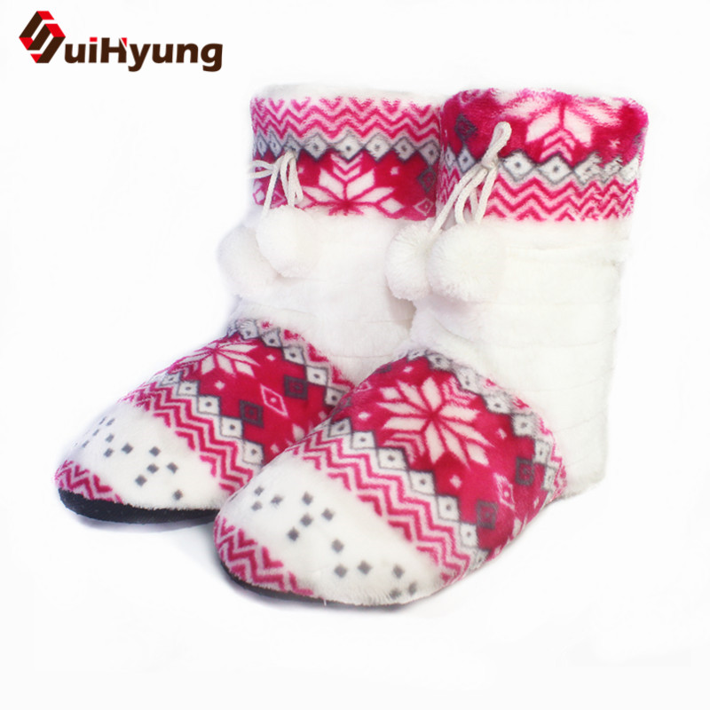 Suihyung Women Winter Indoor Shoes Solid Flock Warm Home Slippers Slip On Hairball Female Prints Plush Shoes Woman Thermal Botas suihyung new funny animal prints flock home slippers women winter warm indoor floor shoes flat cotton shoes short plush slip on