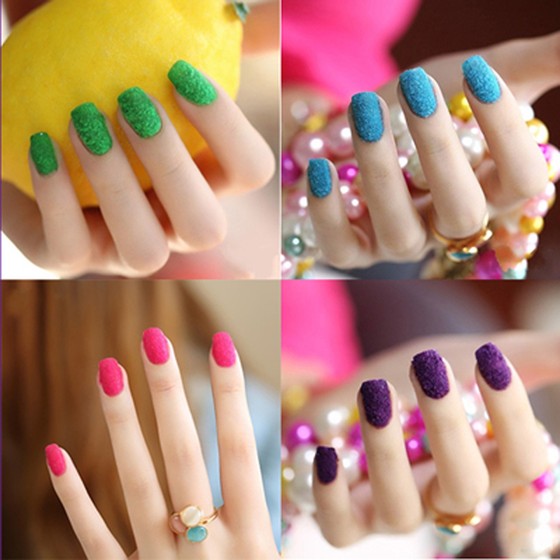 24 Colors 3D Candy Velvet Nail Glitter Nail Accessories Flocked ...