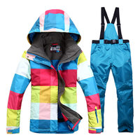 Square Colorful Woman Snow Clothes High Quality 10K Waterproof Windproof Breathable Outdoor Snowboarding Jacket And Bibs