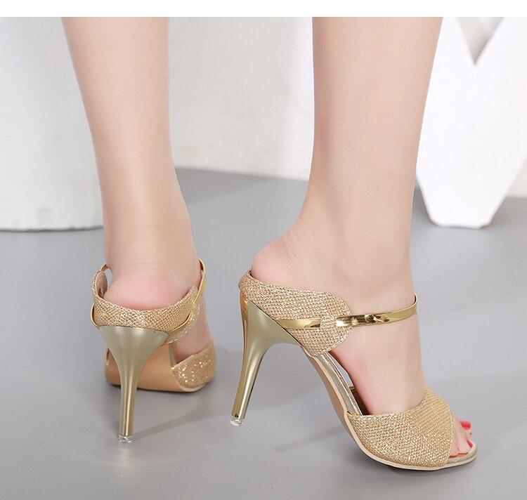 LAKESHI Summer Women Pumps Small Heels Wedding Shoes Gold Silver Stiletto High Heels Peep Toe Women Heel Sandals Ladies Shoes 13