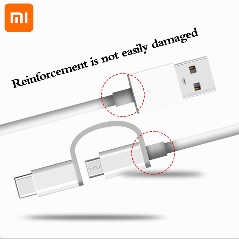 Image 3 - original Xiaomi 2 in 1 Micro USB to Type C sync data Charger Cable usually wire for Mi 5 5A 5C 5X 5S plus 6 6X 8 SE 9 redmi 4A X-in Mobile Phone Cables from Cellphones & Telecommunications