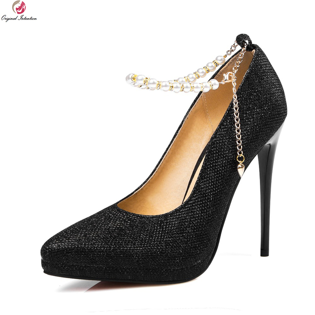 5bf323685c0 Original Intention Popular Women Pumps Platform Pointed Toe Thin Heels  Pumps Stylish Black Silver Gold Shoes Woman US Size 4-13