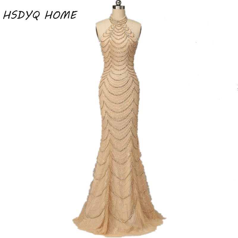 Heavy Handwork Beading Long   Evening     Dresses   2017 High Neck Shining Crystal mermaid prom   dress   Formal Occasion Real Picture