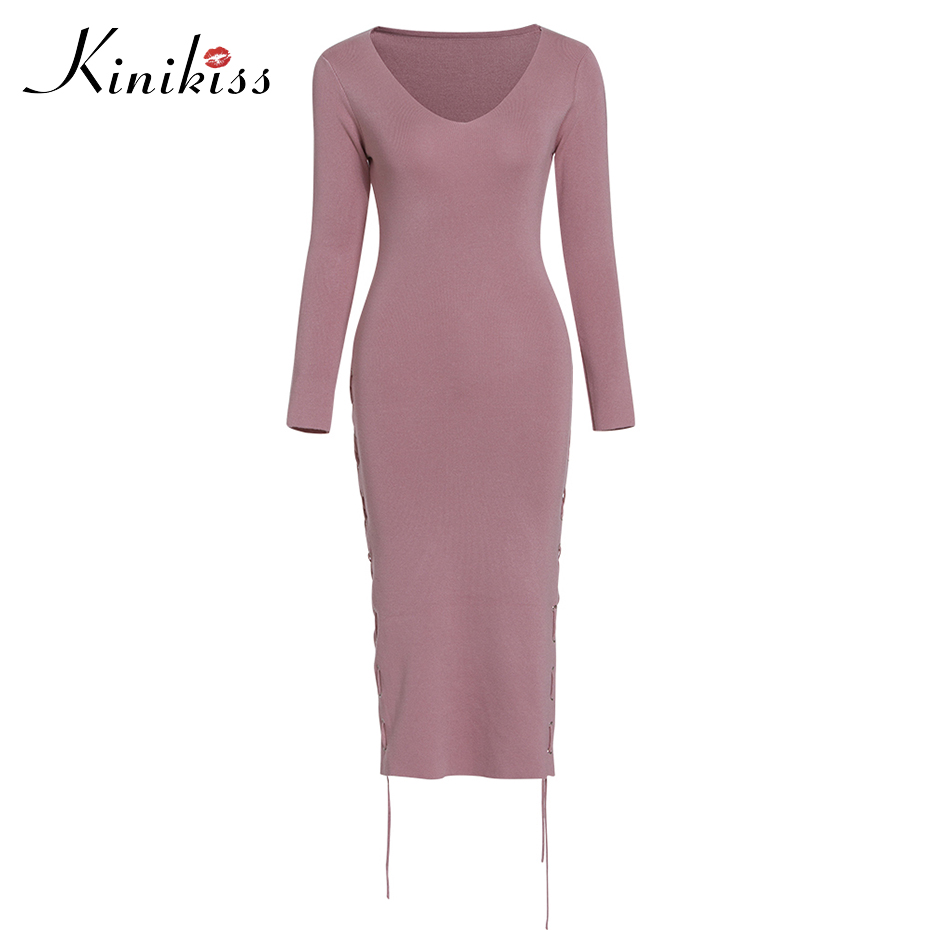 Kinikiss Women Lace Up Bodycon Sweater Dress Sexy V Neck Casual Knitted Dress Long Sleeve Midi Lady Pink Elegant Sweater Dress pink sexy v neck lace up design playsuit