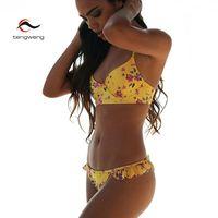 Tengweng 2018 Sexy Tanga Push up Bikini con Estampado floral Mujeres de la Colmena Del Traje de Baño Del Vendaje de traje de Baño Femenino del traje de Baño Brasileño Barato