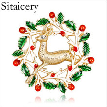 Sitaicery New Year Colorful Elk Deer Brooches Men Womens Alloy Enamel Animal Party Banquet Brooch Christmas Gifts For Friends