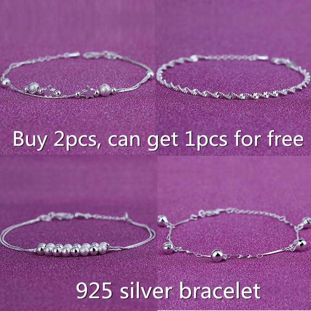 Free shipping Wholesale new style Charms 925 sterling silver stars bracelet. female nice gift smart chain heart bangle jewelry
