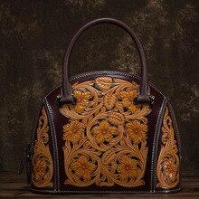 NIUBOA Designer Handbag High Quality Cow Genuine Leather Shoulder Bag Women Top-handle Vintage Printing Casual Shell Tote Bags