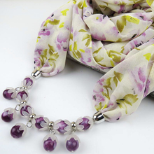 Women daisy Chiffon scarf necklace flower drop beads boho collar choker female luxury turban lic bandana purple bohemia jewelry
