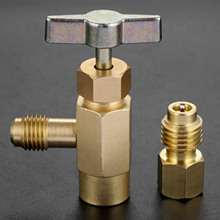 R134A Refrigerant Can tap 1/2 ACME threads 1/4 SAE AC Refrigerant Can Bottle Tap Opener Valve Tool цена 2017