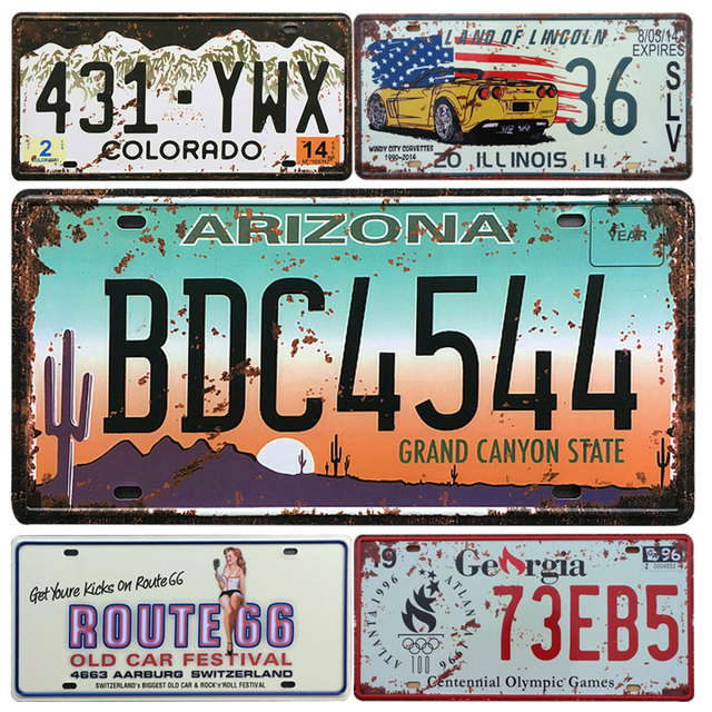 2017 Retro USA Car Metal License Plate Vintage Home Decor Tin Sign ...
