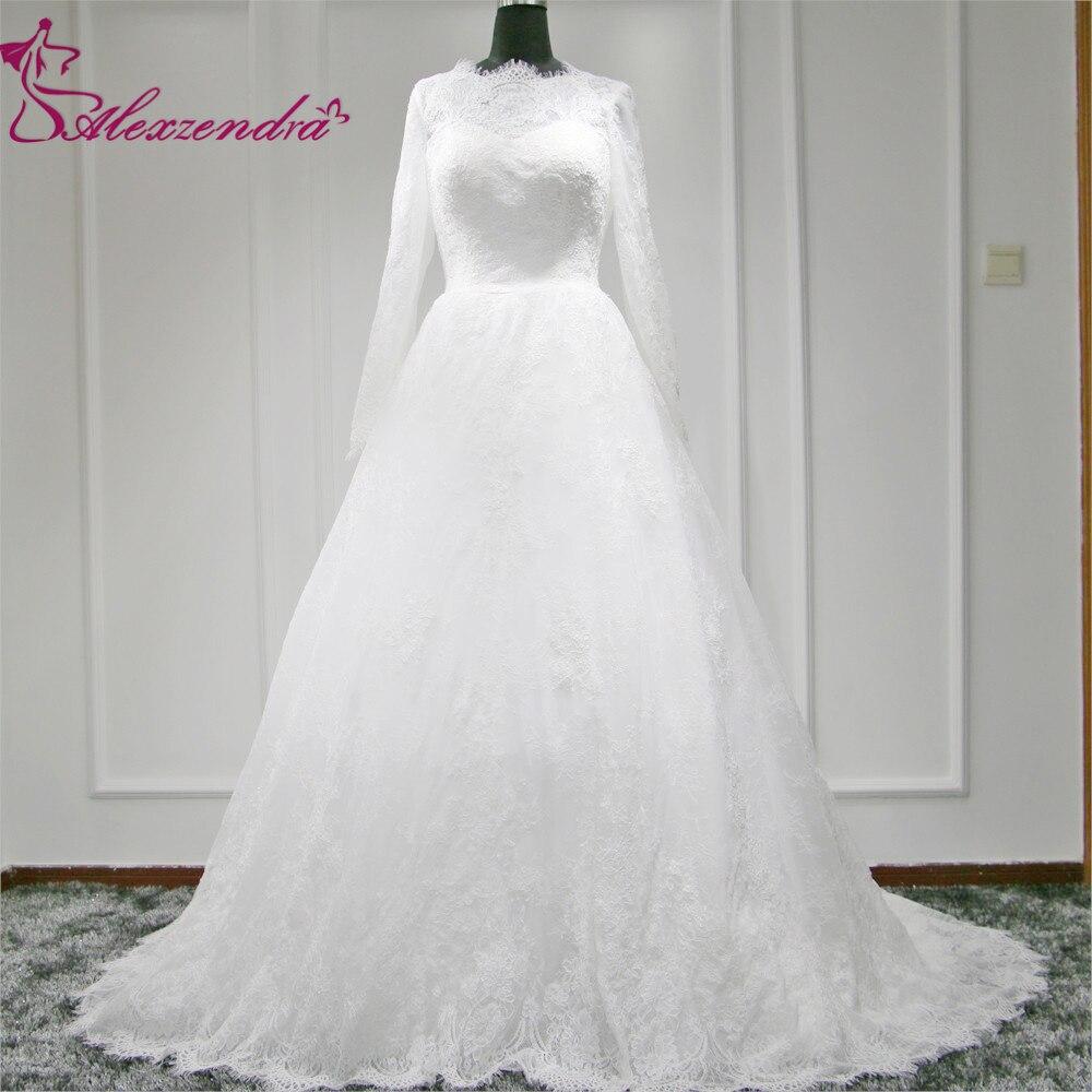 7ad2980631 Alexzendra vestido de boda musulmán Encaje manga larga blanco vintage  vestidos de novia Vestido de Noiva