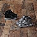 2016 nuevos niños de invierno de cuero shoes con los chicos y chicas calientes algodón casual shoes high shoes