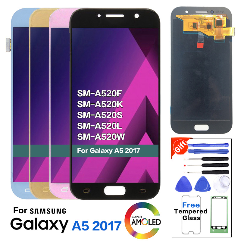 """5.2"""" Amoled LCD for SAMSUNG Galaxy A5 2017 LCD Display Touch Screen Digitizer A520 A520F SM-A520F LCD Replacement A520F Glass"""