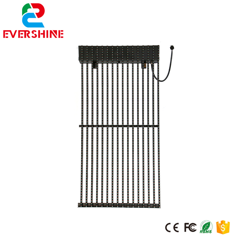 Ultra thin p31.25 DIP full color glass transparent wall led display screen Outdoor Grille LED Screen